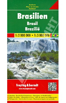 Brazil. 1:2 000 000 - 1:3 000 000Атласы и карты мира<br>Explore Brazil with this Freytag&amp;Berndt double-sided road map. The best way to plan your trip, prepare your itinerary, and to travel independently in this country.<br>Place name index in a booklet. Inset maps of Belem, Belo Horizonte, Brasilia, Sao Paulo, Rio de Janeiro, Fortaleza, Recife, and Manaus. Touristic information: airports, castles, ruins, churches, spas, car-ferries, natural preserve, lakes and rivers.<br>The legend is in English, Brazilian, Spanish, Italian, German, Dutch, French, Czech, Slovak and Hungarian.<br>