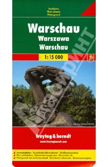 Warsaw. Warschau. 1:15 000Атласы и карты мира<br>Explore with this Freytag&amp;amp;Berndt street map. The best way to plan your trip, prepare your itinerary, and to travel independently in the Polish capital.<br>This map shows some touristic information: metro stations, places of interest, museums, theatres, monuments, parks, police stations, hospitals, post-offices, parking, religious buildings.<br>The legend is in English, Polish, German, Spanish, Italian, Dutch, French, Czech, Slovak and Hungarian.<br>