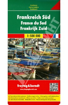 Frankreich Sud. 1: 500 000Атласы и карты мира<br>Explore the south of France with this Freytag &amp;amp; Berndt double-sided road map. The best way to plan your trip, prepare your itinerary, and to travel independently.<br>Place name index in a booklet. Touristic information: places of interst, national parks, airports, castles, lighthouses, view-points, religious buildings, archaeological sites, monuments, camp-grounds.<br>The legend is in English, German, Spanish, Italian, Dutch, French, Czech, Polish, Slovak and Hungarian.<br>