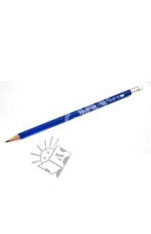 Карандаш черногрифельный HB, с ластиком, голубой (13246)