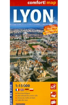 Лион. Карта. Lyon 1:15 000Атласы и карты мира<br>This easy-folding laminated comfort! map is durable and water resistant. Map includes up-to-date road network, places of interest, shaded relief and an index of places names. Double sided map.<br>laminated on both sides<br>- places of interest<br>- super scale centre<br>- underground and suburban railway map<br>- street index<br>Масштаб: 1: 15 000<br>Легенда на 4 языках.<br>