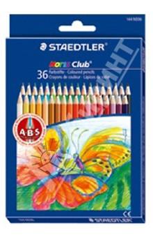 Карандаши 36 цветов Noris Club (144ND36)Цветные карандаши более 20 цветов<br>Классические шестигранные карандаши стандартного размера для всех возрастных групп;<br>Система защиты от поломки ABS (Anti-break-system) увеличивает устойчивость и сокращает ломкость грифеля;<br>Прочные грифели сочных цветов;<br>Легко затачивать при любом качестве точилки;<br>Карандаши имеют специальное лакированное покрытие;<br>Цветные карандаши  соответствуют Европейскому стандарту  EN 71 (требования безопасности к игрушкам);<br>Набор из 36 цветов в картонном коробе, имеющем встроенную систему подвески для розничных магазинов;<br>Грифель диаметром 3 мм<br>Производство: Германия<br>