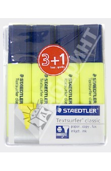 Текстовыделитель желтый, 4 шт. (364-1WP4P) STAEDTLER