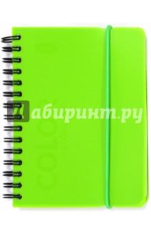 Записная книжка А6 Green 80 листов, клетка (83350)Записные книжки средние (формат А6)<br>Записная книжка.<br>Формат: А6<br>Количество листов: 80<br>Разлиновка: клетка<br>Блок: офсет<br>Крепление: евроспираль<br>Пластиковая обложка<br>Фиксируется на резинку.<br>Производство: Россия<br>