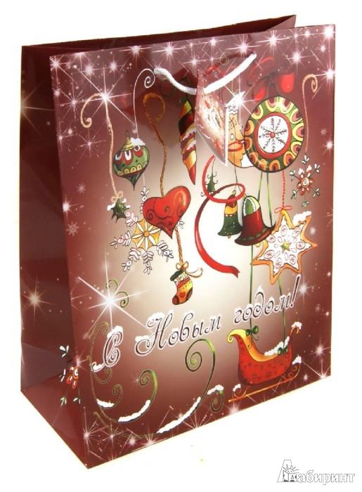 """Иллюстрация 1 из 2 для Пакет бумажный """"Новый год"""". 26х33х13 см. (31456)   Лабиринт - сувениры. Источник: Лабиринт"""