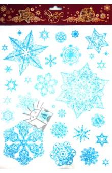 Новогоднее оконное украшение Снежинки (31245)Аксессуары для праздников<br>Новогоднее оконное украшение.<br>Декорировано глиттером.<br>Размер листа: 30х38 см.<br>Материал: ПВХ-пленка.<br>Сделано в Тайване.<br>