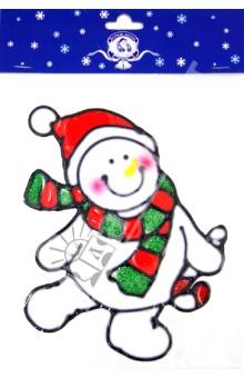 "Новогодняя наклейка на окно ""Снеговик""  (585807)"