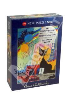 Puzzle-500 Котенок под радугой (29627)Пазлы (400-600 элементов)<br>Пазл-мозаика.<br>Количество элементов: 500<br>Размер собранной картинки: 35х50 см.<br>Художник: Rosino Wachtmeister.<br>Упаковка: картонная коробка.<br>Сделано в Германии.<br>