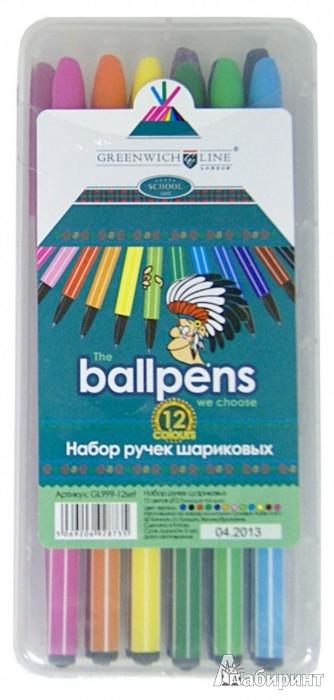 Иллюстрация 1 из 4 для Набор шариковых ручек (12 цветов) (GL999-12set)   Лабиринт - канцтовы. Источник: Лабиринт
