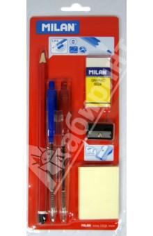 Набор канцелярский (ластик, точилка, карандаш HB, 2 ручки, бумага с клейким краем) (80064) Milan