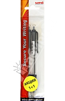 "Ручка автоматическая черная ""Lacnock"", 2 штуки (SN-10/02_ROZ_2BLACK) Uni Mitsubishi Pencil Co.,Ltd."