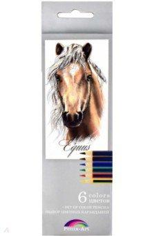 Набор цветных карандашей, 6 цветов Лошадь (32869-24)Цветные карандаши 6 цветов (4—8)<br>Набор цветных карандашей.<br>Количество цветов: 6<br>Корпус из дерева.<br>Диаметр грифеля: 3 мм.<br>Трехгранная форма.<br>Упаковка: картонная коробка с выдвижным блоком<br>