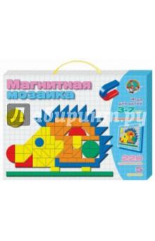 Магнитная мозаика Ёжик (01480)Игры на магнитах<br>Магнитная мозаика - это одновременно увлекательная и развивающая игра для детей от 3 до 7 лет.<br>Собирая мозаику, ребенок развивает художественное воображение и творческие навыки, учится усидчивости, тренирует мелкую моторику рук. Набор  мягких магнитных деталей разнообразных геометрических форм и цветов предоставляет неограниченный простор для творчества, превращая мозаику в плоский конструктор.<br>В комплект входит: магнитная доска (310х205 мм), магнитные фишки (220 штук 5-ти цветов).<br>Игрушка из картона, вспененного полимерного материала, магнитного винила и металла.<br>Для детей от 3-х лет. Содержит мелкие детали.<br>Сделано в России.<br>