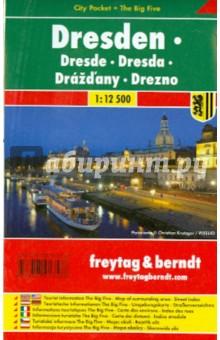 Дрезден. Карта-покет ламинированная 1: 12 500Атласы и карты мира<br>Einkaufen, Kulinarik, Kultur, Nachtleben, Sehenswurdigkeiten, Symbole in Karte, Piktogramme.<br>1: 10 000.<br>
