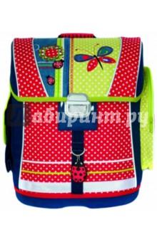Ранец школьный Коллаж с бабочкой (32490)Ранцы и рюкзаки для начальной школы<br>Ранец школьный.<br>Размер: 39x29x15см<br>Материал: полиэстер <br>Формованное жесткое тело ранца, EVA дно, вышивка, 3D аппликация, фигурные брелоки.<br>Производство: Китай<br>