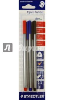Капиллярная ручка Triplus Liner (0,3 мм., 3 штуки, 3 цвета)Наборы капиллярных ручек<br>Набор из 3-х капиллярных ручек 3-х разных цветов.<br>Толщина линии: 0,3 мм.<br>Цвета чернил: красный, синий, черный.<br>Эргономичный трехгранный корпус, обеспечивающий комфортное письмо без усилий и усталости.<br>Премиальный дизайн, с  гладкой и приятной на ощупь поверхностью.<br>Супер-тонкий и особо прочный металлический наконечник.<br>Идеально подходит как для письма и работы с документами, так и для творчества;<br>Особо мягкое и плавное письмо.<br>Цвет чернил соответствует цвету колпачка и заглушки.<br>Уникальная система DRY SAFE позволяет оставлять ручку без колпачка на несколько дней без угрозы высыхания.<br>Функция  автоматического выравнивания давления, предотвращение от утечки чернил в полете.<br>Сделано в Германии.<br>
