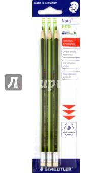 Карандаш чернографитный Noris eco с ластиком (HB, 3 штуки) STAEDTLER