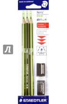Карандаш чернографитовый Noris eco (HB, 3 штуки, точилка, ластик)Наборы карандашей<br>Набор из 3-х чернографитовых карандашей, точилки и ластика.<br>Высококачественный шестигранный заточенный карандаш с ластиком.<br>Карандаш из современного материала Wopex (70% древесины) высшего качества для письма, рисования и эскизов.<br>Благодаря факту, что карандаши  Wopex произведены по специальной формуле, они являются очень устойчивым к поломке и имеют особо прочный грифель. Таким образом, срок его использования многократно увеличивается.<br>Инновационный материал Wopex гарантирует особенно легкую и острую заточку.<br>Карандаши Wopex являются  PEFC сертифицированными и изготовлены из древесины управляемых лесов.<br>Твердость: HB<br>Сделано в Германии.<br>