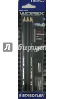 Карандаш чернографитовый WOPEX (HB, цвет корпуса черный, 6 штук, ластик, точилка) STAEDTLER