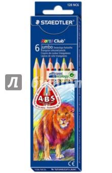Карандаши цветные трехгранные Noris Club Jumbo, 6 цветов (128NC6)Цветные карандаши 6 цветов (4—8)<br>Цветные карандаши Jumbo-размера эргономичной треугольной формы с закругленными краями, мягкая поверхность с эффектом анти-скольжения.<br>Система защиты от поломки ABS (Anti-break-system) увеличивает устойчивость и сокращает ломкость грифеля.<br>Специальная эргономичная форма, корректирующая ученический захват, для рисования без усталости и усилий, идеально подходит для первых упражнений письма и рисования.<br>Цветные карандаши  соответствуют Европейскому стандарту  EN 71 (требования безопасности к игрушкам).<br>Легко затачивать при любом качестве точилки для толстых цветных карандашей.<br>В набор входят карандаши 6-ти цветов.<br>Упаковка6 картонная коробка с подвесом.<br>Сделано в Германии.<br>