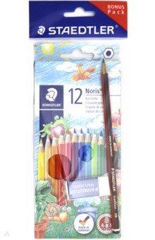 Карандаши Noris Club (12 цветов, чернографитовый карандаш, ластик)Цветные карандаши 12 цветов (9—14)<br>Набор из цветных карандашей (12 цветов), чернографитового карандаша (HB) и ластика.<br>Классические шестигранные карандаши стандартного размера для всех возрастных групп.<br>Система защиты от поломки ABS (Anti-break-system) увеличивает устойчивость и сокращает ломкость грифеля.<br>Прочные грифели сочных цветов.<br>Легко затачивать при любом качестве точилки.<br>Карандаши имеют специальное лакированное покрытие.<br>Цветные карандаши  соответствуют Европейскому стандарту  EN 71 (требования безопасности к игрушкам).<br>Грифель диаметром 3 мм.<br>Сделано в Германии.<br>