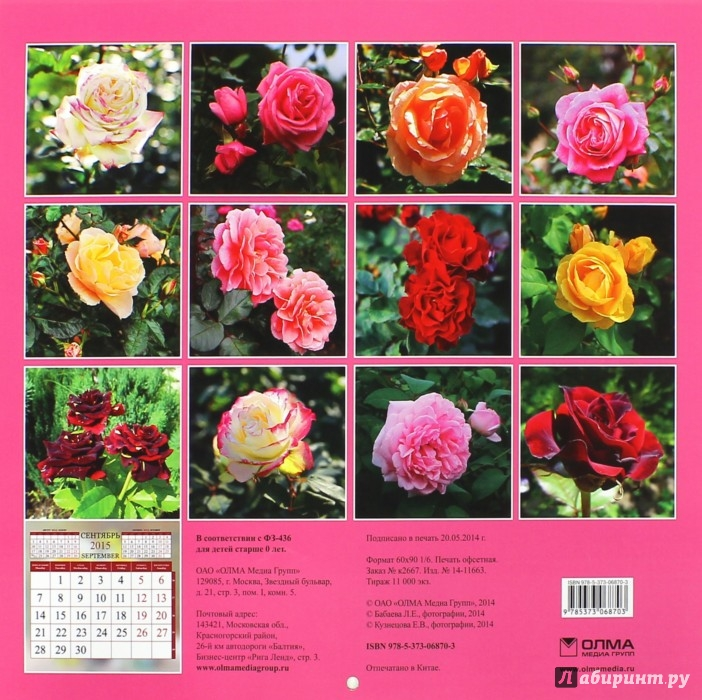 Иллюстрация 1 из 4 для Календарь 2015. Розы (12 листов) | Лабиринт - сувениры. Источник: Лабиринт