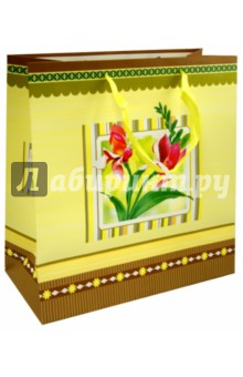 """Пакет подарочный ламинированный """"Цветочные узоры"""", 300x300x136 (QC-3D-004) МегаМАГ"""