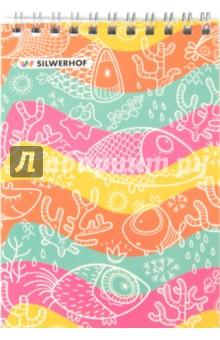 """Блокнот на гребне """"Рыбки"""" (40 листов, А6, клетка) (731150-26) Silwerhof"""