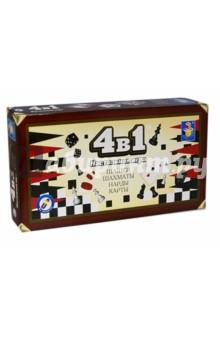 """Настольная игра 4 в 1 """"Шашки, шахматы, нарды, карты"""" (Т52451)"""