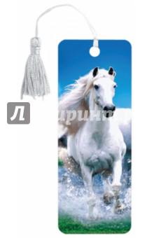 """3D закладка для книг с линейкой """"Белый конь"""" (125753)"""