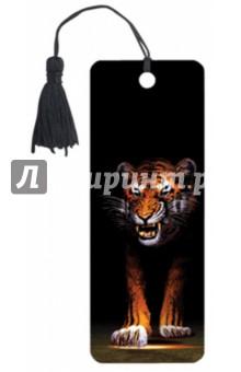 """3D закладка для книг с линейкой """"Тигр"""" (125776)"""