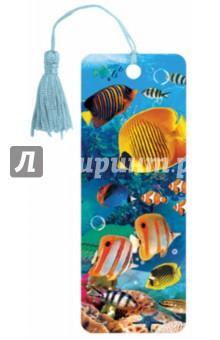 """3D закладка для книг с линейкой """"Экзотические рыбки"""" (125779)"""