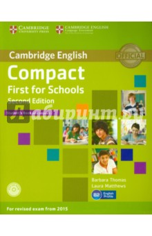 Compact First for Schools. Students Book with answers (+CD)Изучение иностранного языка<br>Choose an official Cambridge English course for the most authoritative exam preparation available!<br>Compact First for Schools Second Edition is a concise and focused course which thoroughly prepares B2-level students for all four papers of the revised Cambridge English: First for Schools, also known as First Certificate in English (FCE) for Schools. Eight units provide 50-60 hours of core material to maximise the performance of school-age learners.<br>Key features:<br>- B2-level vocabulary is targeted, drawing on insights from English Profile, and brought together in a Wordlist based on key vocabulary from the units.<br>- Exam tips, and grammar and vocabulary exercises teach students to avoid common mistakes identified in Cambridges unique collection of real exam candidates answers*.<br>- Two teen-inspired topics in each unit ensure the entire exam syllabus is covered, and can also act as a basis for CLIL-based extension activities and projects.<br>- Grammar sections and a Grammar Reference help students build up the accurate language structure necessary for Use of English.<br>- The CD-ROM provides interactive grammar, vocabulary and exam practice Listening.<br>Second Edition.<br>