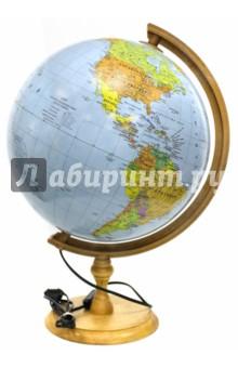 """Глобус """"Физико-политический"""" с подсветкой на деревянной подставке (320 мм) (ZM320FP) Zachem"""