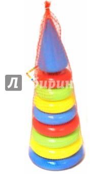Пирамидка 8 колец с наконечником (008ПМН/1132229)Пирамидки, сортеры и стучалки<br>Пирамидка 8 колец с наконечником.<br>Материал: полиэтилен.<br>Упаковка: сетка.<br>Для детей от 1 года.<br>Сделано в России.<br>