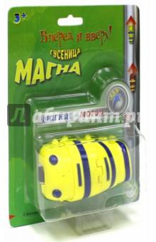 Гусеница Магна желтая (MM 8930Y)Роботы и трансформеры<br>Моторчик и встроенный магнит позволяют игрушке двигаться вперед по ровной поверхности, а по металлической  - вверх и вниз. Это весело и смешно!<br>Работает от 1 батарейки типа ААА (в комплект не входит).<br>Материал: пластмасса с элементами из металла.<br>Упаковка: блистер.<br>Сделано в Китае.<br>
