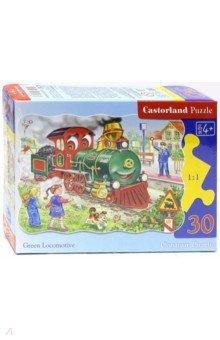 Puzzle-30 MIDI Зеленый локомотив (В-03433)Пазлы (15-50 элементов)<br>Пазл-мозаика.<br>Способствуют развитию образного и логического мышления, наблюдательности, мелкой моторики и координации движений руки.<br>Размер собранной картинки: 32х23 см<br>Количество элементов: 30<br>Материал: картон.<br>Упаковка: картонная коробка.<br>Правила игры: вскрыть упаковку и собрать игру по картинке.<br>Для детей от 4-х лет.<br>Не давать детям до 3-х лет из-за наличия мелких деталей.<br>Сделано в Польше.<br>