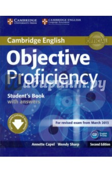 Objective Proficiency. Students Book with Answers with Downloadable SoftwareАнглийский язык<br>Objective Proficiency Second Edition is official preparation for the revised Cambridge English: Proficiency exam, also known as Certificate of Proficiency in English (CPE). It has been fully updated in line with the revised exam.<br>A variety of challenging, lively topics provide thorough training in exam skills and high-level language development. Each unit contains three double-page lessons ensuring flexibility, even pacing and progress. This stimulating material is also suitable for high-level students keen to improve their general English.<br>Key features of Objective Proficiency:<br>Interactive software, downloadable with purchase of the Student s Book, provides extra practice of exam skills, grammar and vocabulary.<br>Regular Corpus spots, informed by Cambridge s unique collection of exam candidates  answers, the Cambridge Learner Corpus, tackle areas that Proficiency students still find challenging.<br>Vocabulary sections, Phrase spots and Idiom spots informed by the English Vocabulary Profile ensure that students focus on useful, up-to-date language at C2 level.<br> Regular Exam Folders provide systematic exam preparation and practice, covering each paper of the revised exam in detail.<br> Writing Folders every two units give extensive practice in writing skills and exam technique.<br>A Grammar Folder provides easy reference material with plenty of explanations and examples.<br> The answer key provides clear explanations and includes highlighted recording scripts and useful cultural background information.<br>