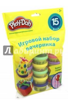 Набор для праздника Play-Doh (18367148)Наборы для лепки с игровыми элементами<br>Набор для праздника Play-Doh.<br>Целая радуга цветов и неограниченные возможности. Этот набор из 15 28-граммовых контейнеров с пластилином Play-Doh, наверняка взволнует творческие умы! Лепите, создавайте формы и творите в свое удовольствие - или разберите набор на части, которые так любят гости вечеринок, наверняка это подстегнет их воображение!<br>Материал: пластилин.<br>Упаковка: пакет с подвесом.<br>Для детей от 2-х лет.<br>Сделано в Китае.<br>