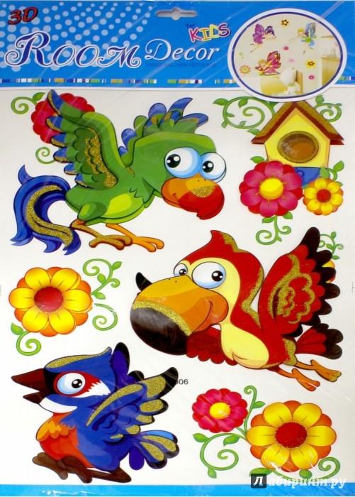Иллюстрация 1 из 5 для Наклейки на стену. Попугайчики (СК-006) | Лабиринт - игрушки. Источник: Лабиринт