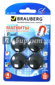 Магниты (4 штуки, диаметр 30 мм, черные) (231734)