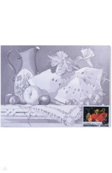 "Холст грунтованный на картоне с контуром ""Натюрморт"" (30х40 см) (190626) Brauberg"