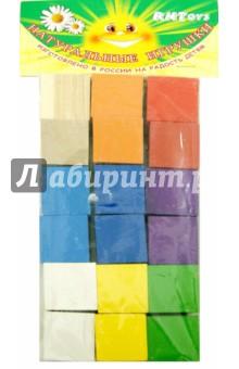 Кубики цветные, 18 штук (Д-635)Кубики логические<br>Кубики развивают воображение, знакомят ребенка с цветом, помогают осваивать навыки конструирования.<br>В наборе 18 цветных кубиков.<br>Материал: дерево.<br>Упаковка: пакет с подвесом.<br>Сделано в России.<br>
