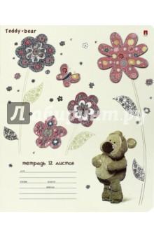 """Тетрадь школьная """"Мишка Тедди"""" (12 листов, линейка, в ассортименте) (7-12-1000/2) Альт"""