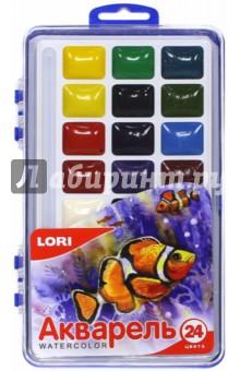 Акварель 24 цвета, без кисти (Акв-004) LORI