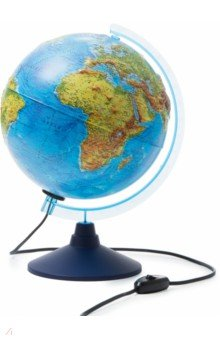 Глобус Земли физический рельефный с подсветкой (d=250 мм) (Ке022500194)Глобусы<br>Глобус Земли физический рельефный с подсветкой<br>Диаметр - 250 мм.<br>На пластиковой подставке. <br>Упаковка: фирменный пакет и картонная коробка.<br>Имеется переключатель подсветки на шнуре.<br>Сделано в России.<br>