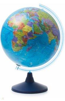 Глобус Земли политический (d400 Ке014000243)Глобусы<br>Глобус Земли политический.<br>Диаметр: 400 мм.<br>На пластиковой подставке. <br>Сделано в России.<br>