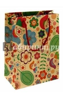 """Пакет бумажный """"Радужные цветы"""" (19х24,5х8 см) (38872)"""