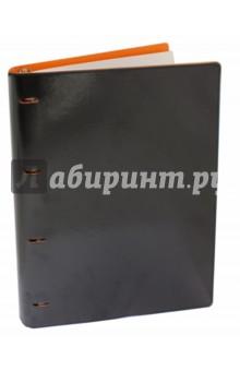 """Тетрадь на кольцах """"Copybook"""" со сменным блоком (200 листов, А4+, черно-оранжевая) (37933)"""