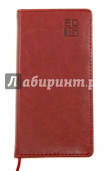 Еженедельник датированный на 2016 год (170х86 мм, БОРДО) (38935-20)